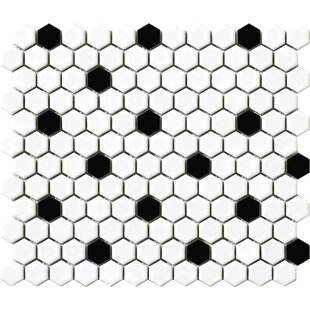 Vintage 1 X Porcelain Mosaic Tile In White Black Dot