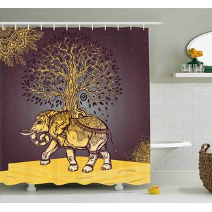 Azariah Asian Elephant in Nature Single Shower Curtain