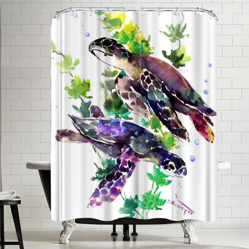 East Urban Home Suren Nersisyan Turtle Single Shower Curtain Wayfair