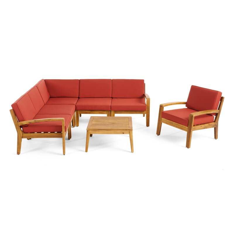 Longshore Tides  Jamie 6 Piece Sectional Seating Group with Cushion Frame Finish: Teak, Cushion Color: Red