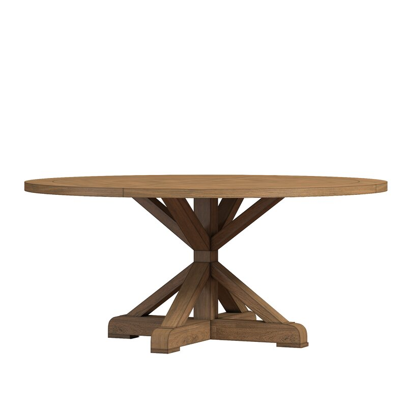 Peralta Round Rustic Solid Wood Dining Table