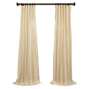 Dunstable Solid Yarn Dyed Dupioni Silk Rod Pocket Single Curtain Panel