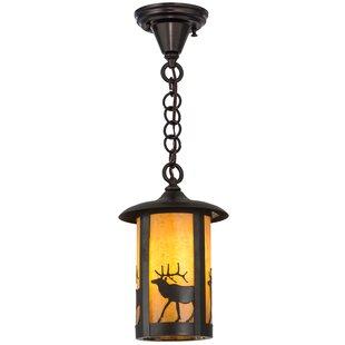 Meyda Tiffany Greenbriar Oak Fulton Lone Elk 1-Light Lantern Pendant