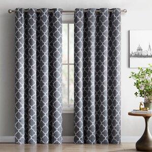 Kuhlmann Lattice Geometric Blackout Thermal Grommet Curtain Panels (Set Of  2) Part 80