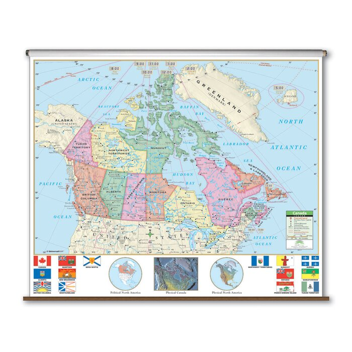 Map Of Canada For Kindergarten.Primary Wall Map Canada