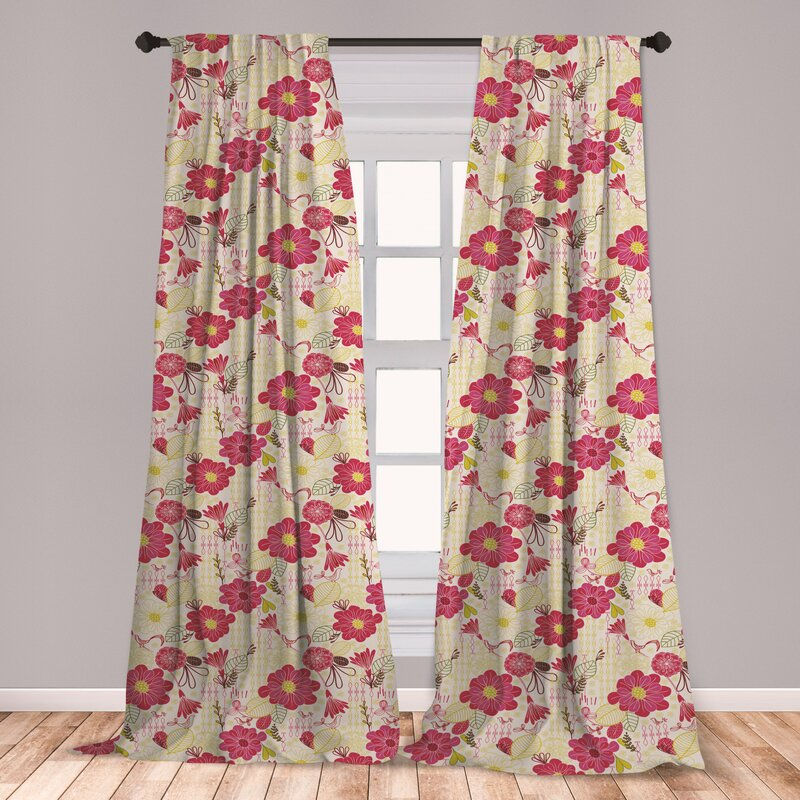East Urban Home Leaves Floral Room Darkening Rod Pocket Curtain Panels Wayfair
