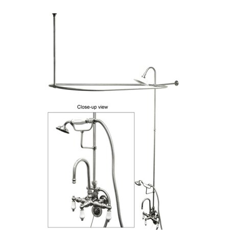 Kingston Brass Vintage Triple Handle Wall Mounted Clawfoot Tub Faucet with Handshower