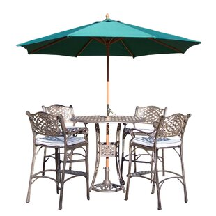 Thelma 5 Piece Bar Height Dining Set with Cushions and Umbrella