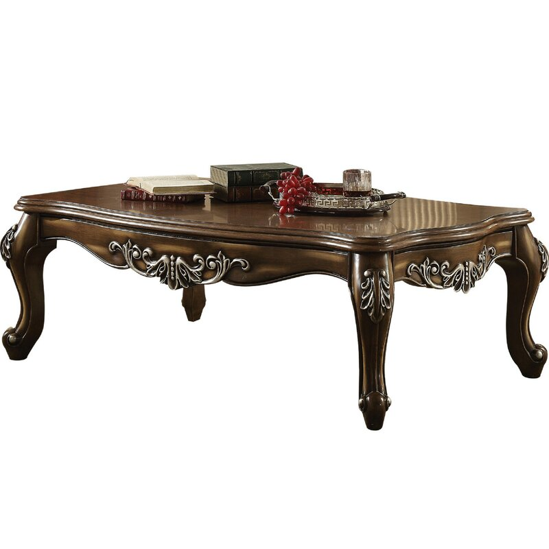 Jayla Intricately Carved Wooden Coffee Table