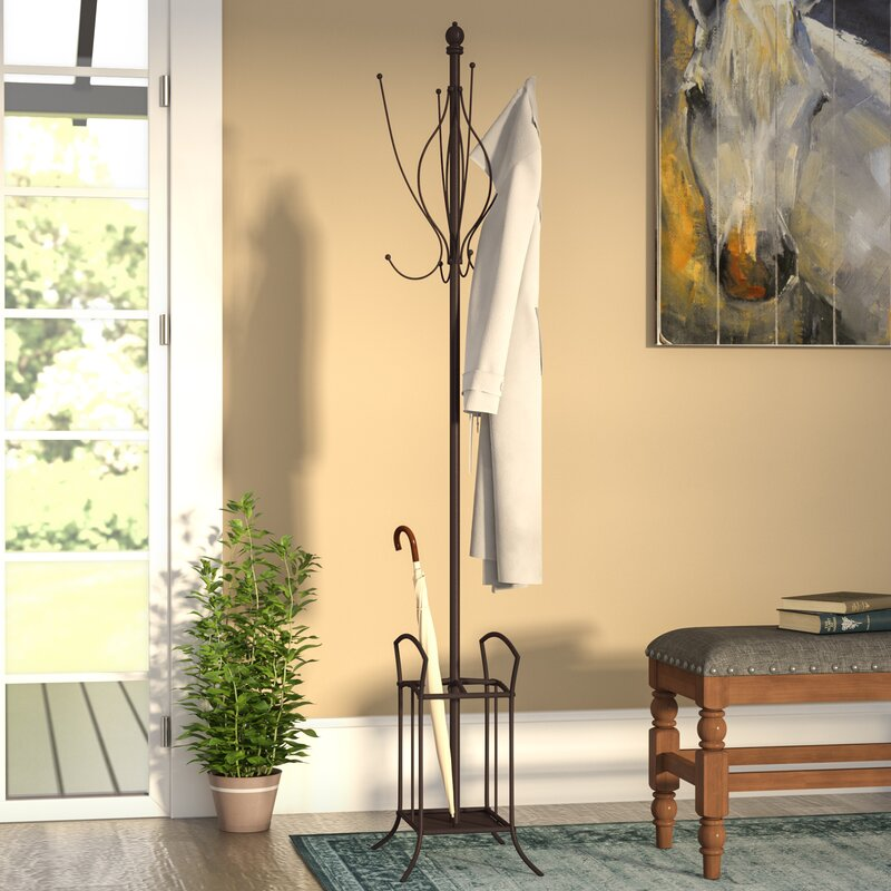 Three Posts Freestanding Metal Coat Rack With Umbrella Stand Extraordinary Metal Coat Rack And Umbrella Stand