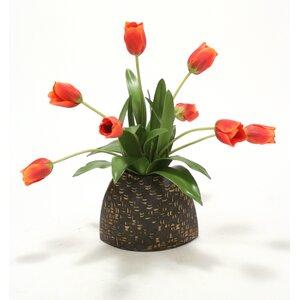 Red-Orange Tulips in a Slim Bamboo Envelope Vase