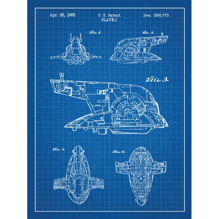 Star Wars Slave I Blueprint Graphic Art In Blue Grid White Ink