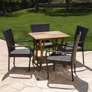 Bay Isle Home Fairmont Outdoor Acacia Wood/Wicker 5 Piece Dining Set