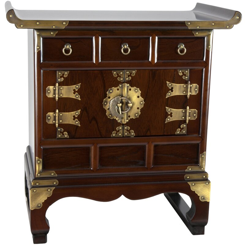 Korean 3 Drawer End Table Accent Cabinet