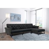 Lamberto 115 Wide Velvet Right Hand Facing Sleeper Sofa & Chaise with Ottoman by Mercer41
