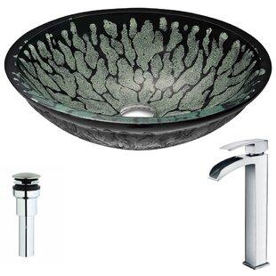 ANZZI Bravo Glass Circular Vessel Bathroom Sink with Faucet