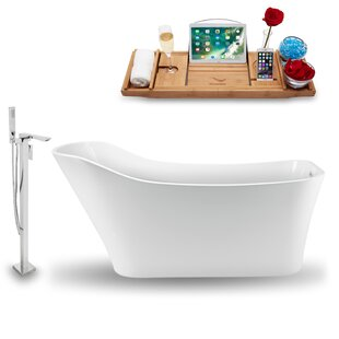 67 x 31 Freestanding Soaking Bathtub with Tray by Streamline Bath