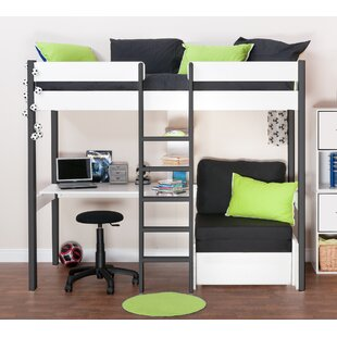 Nero European Single High Sleeper Bed With Shelves And Desk By Stompa