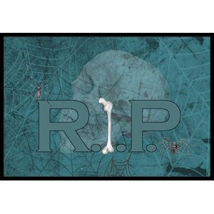 Rip Rest in Peace with Spider Web Halloween Doormat