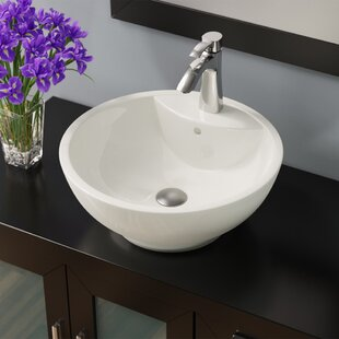 MR Direct Vitreous China Circular Vessel Bathroom Sink with Overflow
