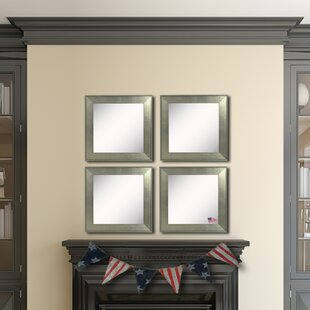 Highland Dunes Arnaldo Brushed Silver Wall Mirror (Set of 4)