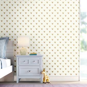 Mack Milo Akeman Gold Heart Spot 16 5 L X 20 5 W Peel And Stick Wallpaper Roll Reviews Wayfair