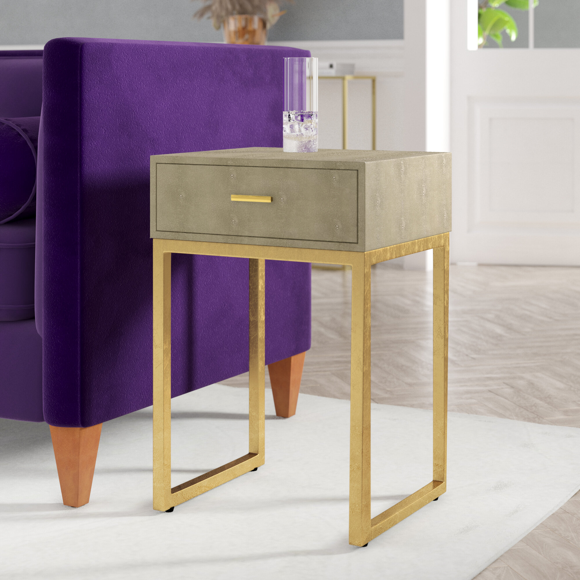 Mercer41 Shagreen Sled End Table With Storage Reviews Wayfair