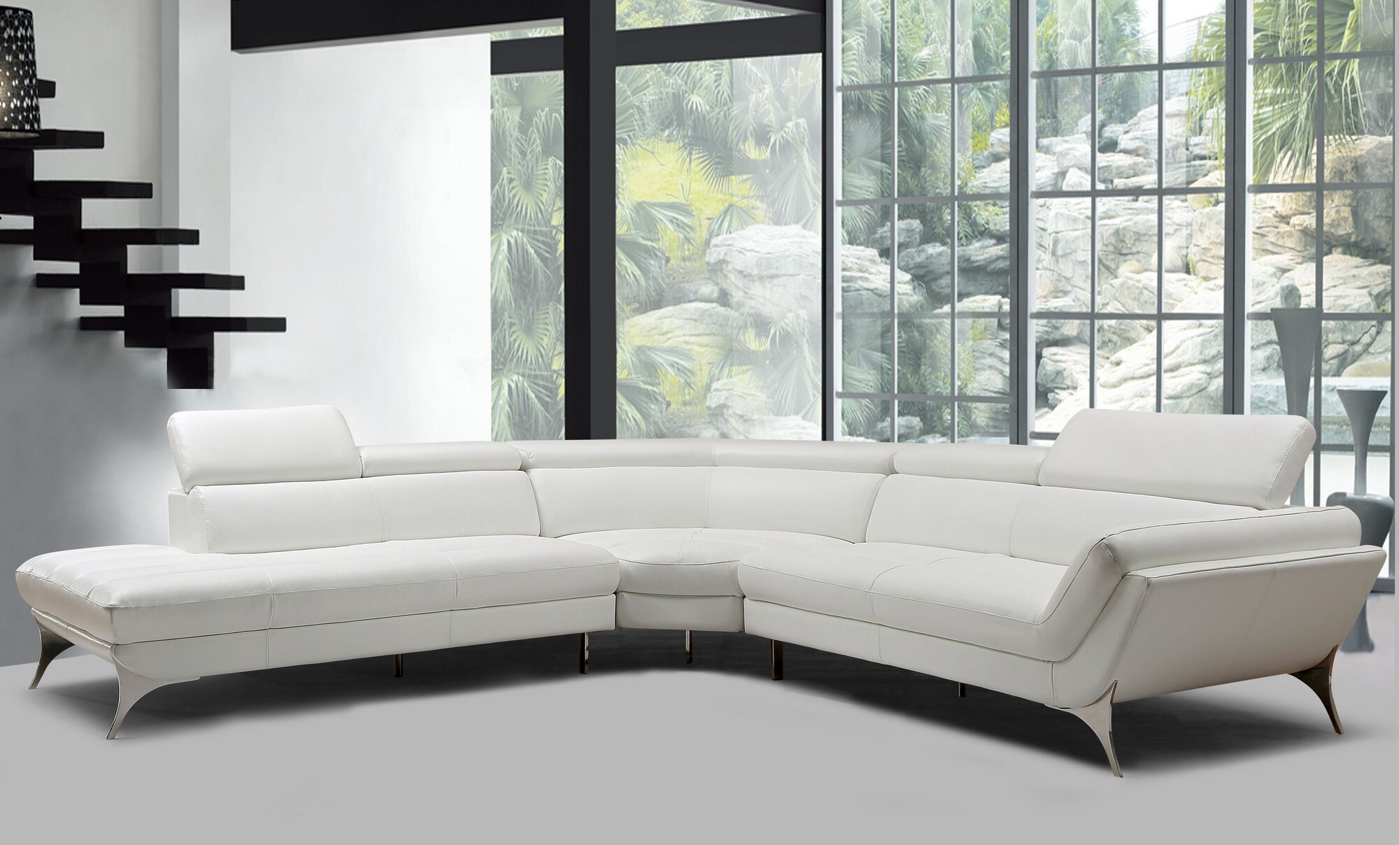 Goza Left Hand Facing Modern Leather Sectional