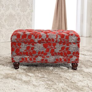 Classic Floral Tufted Storage Ottoman by Bellasario Collection