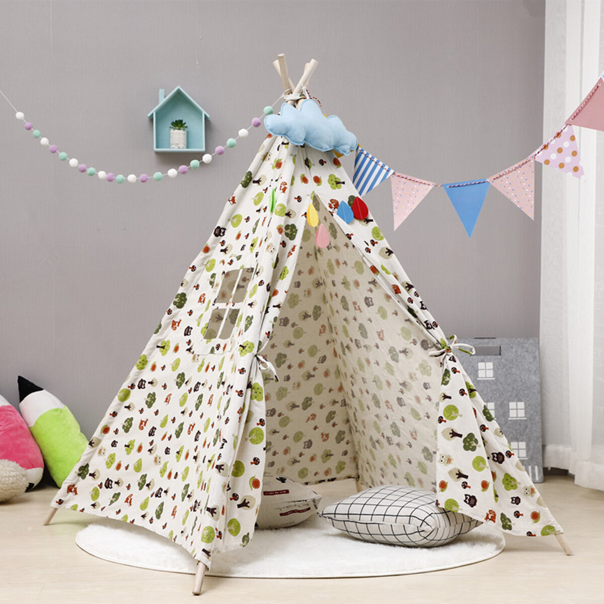 Kingso Indoor Fabric Triangular Play Tent With Carrying Bag Reviews Wayfair