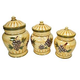 Coweta 3 Piece Grape Design Ceramic Kitchen Canister Set by Fleur De Lis Living Best