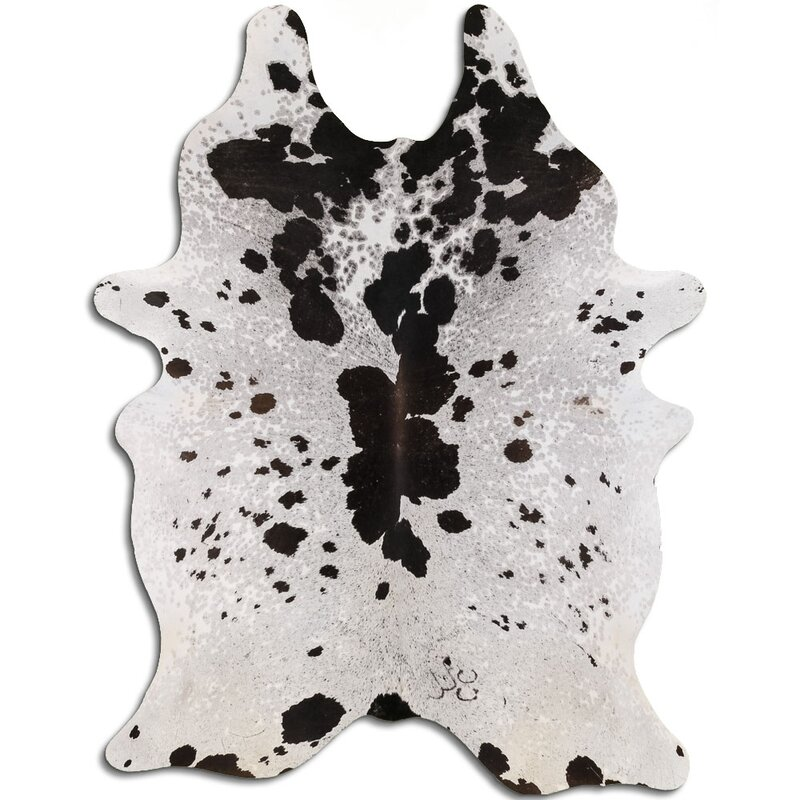 Gracie Oaks Imogene Animal Print Handmade Cowhide Black Area Rug Wayfair