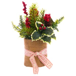 Holly, Berry and Pine Centerpiece in Burlap Pot