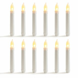 Warm Flameless LED Unscented Taper Candles (Set of 12)