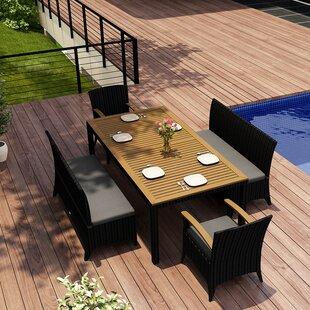 Harmonia Living Arbor 5 Piece Teak Dining Set with Sunbrella Cushions