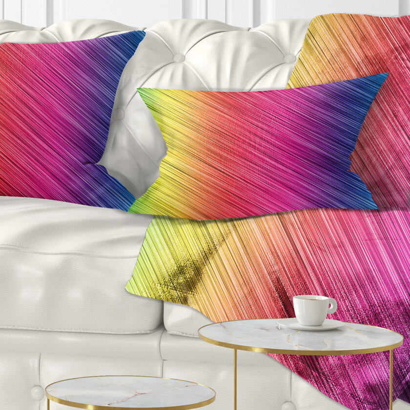 East Urban Home Abstract Neon Glowing Lines Lumbar Pillow Wayfair