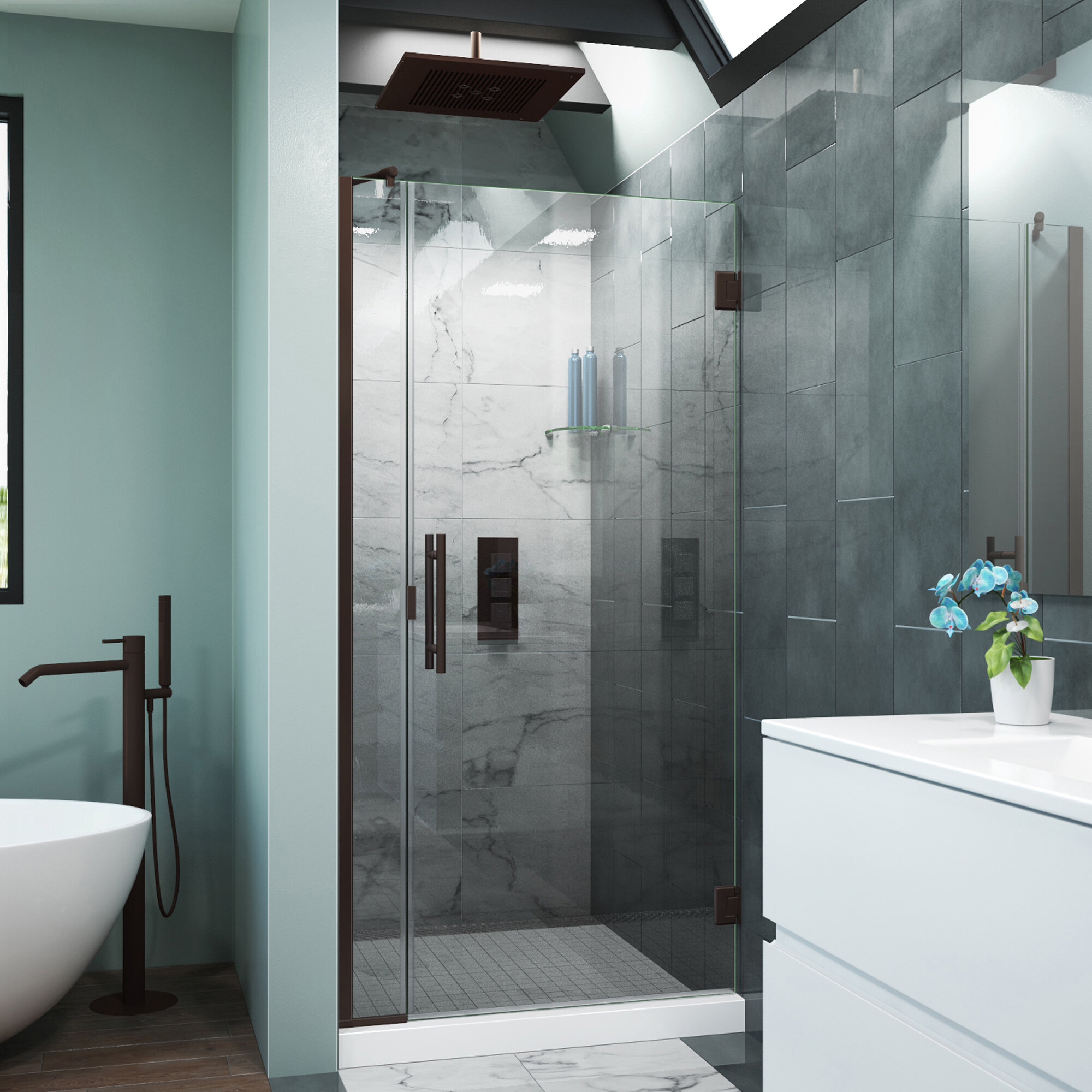 Arizona Shower Door Scottsdale 34 X 72 Hinged Frameless Shower Door With Invisible Shield By Clean X Wayfair