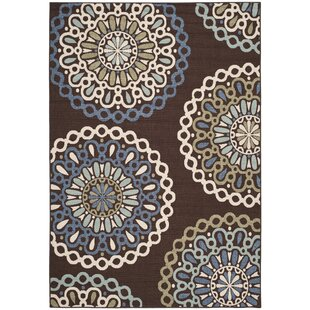 Leonard Blue/Chocolate/Cream/Sage Indoor/Outdoor Area Rug