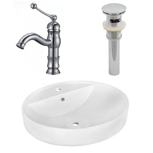 Best Choices Ceramic Circular Vessel Bathroom Sink with Faucet and Overflow By American Imaginations
