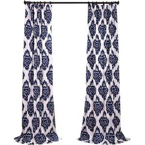 Zachary Ikat Semi Opaque Rod Pocket Single Curtain Panel