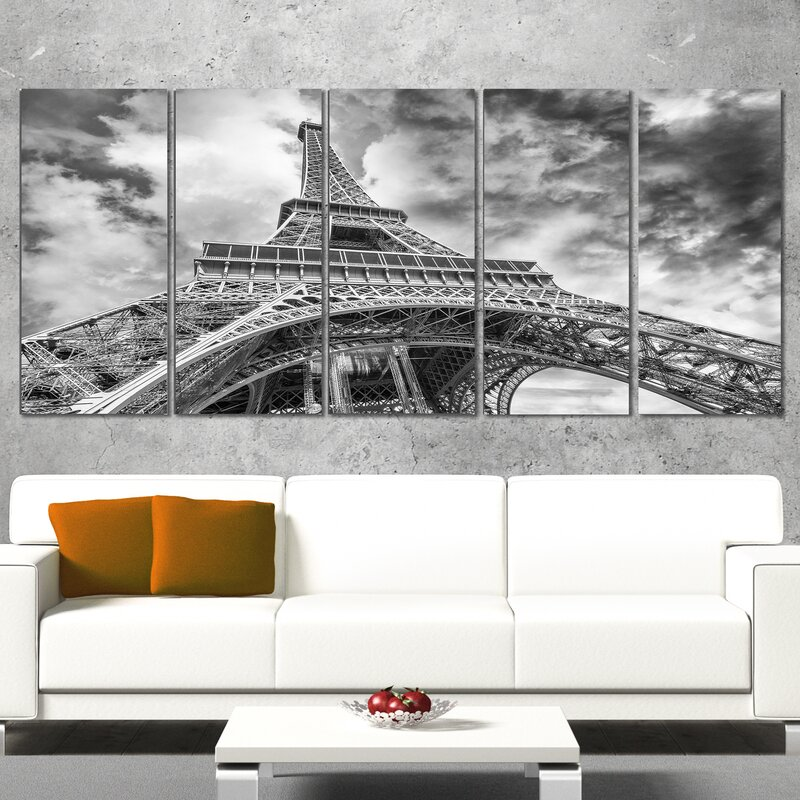 DesignArt Black and White View of Paris Eiffel Tower 5 Piece Wall ...