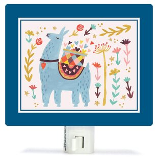 Oopsy Daisy Blue Llama by Irene Chan Canvas Night Light