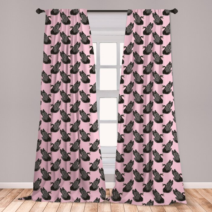 Ambesonne Swan Curtains, Vintage Pin Up Pattern With Black Swan Princess  For Girls Kids Nursery, Window Treatments 2 Panel Set For Living Room  Bedroom ...