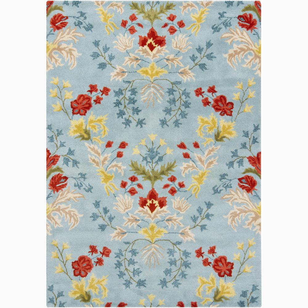 August Grove Lillian Floral Handmade Tufted Wool Blue Area Rug Wayfair