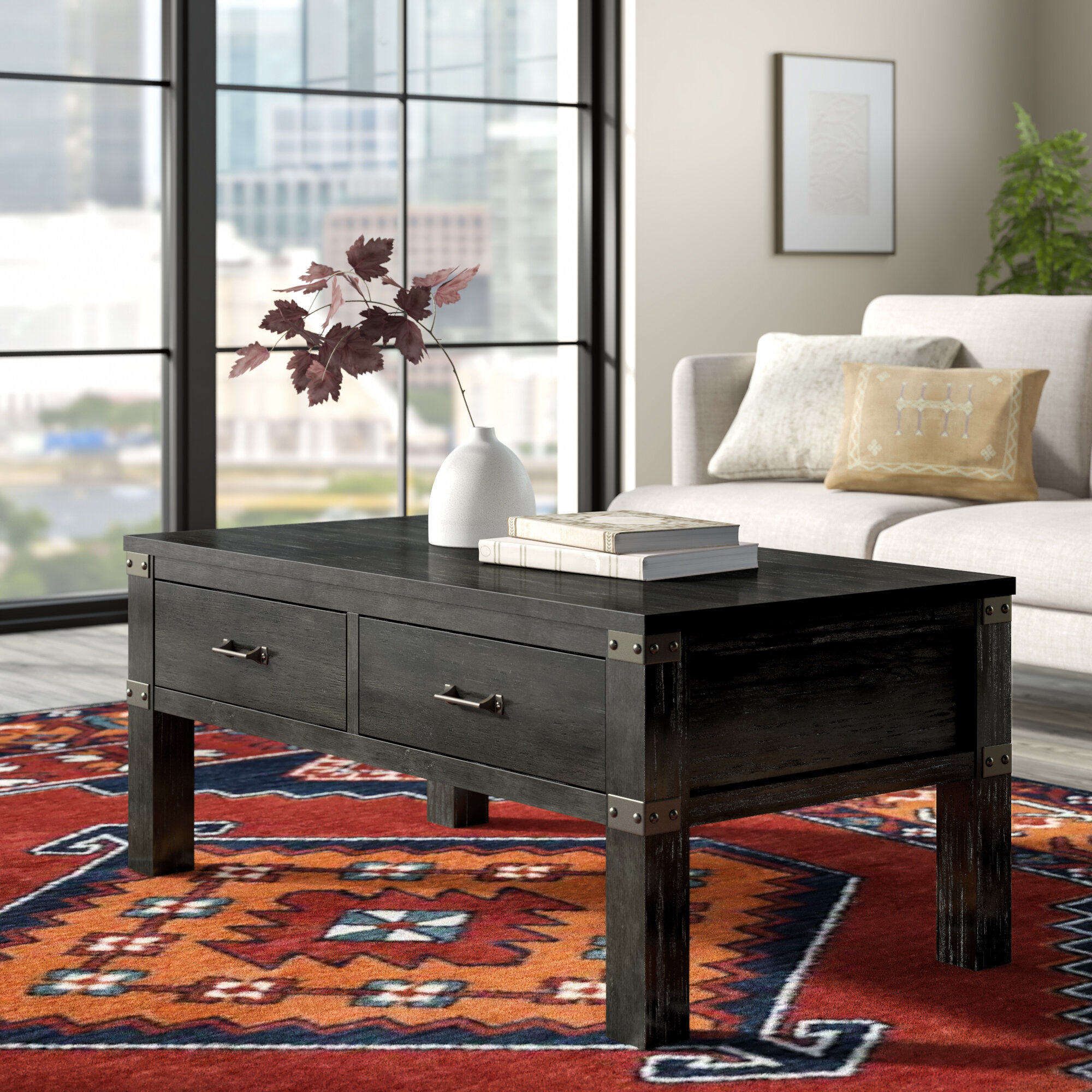 Union Rustic Kaitlin Coffee Table With Storage Reviews Wayfair