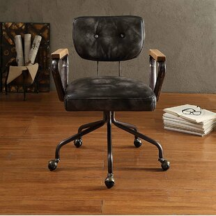 17 Stories Lebow Swivel Executive Genuine Leather Office Chair