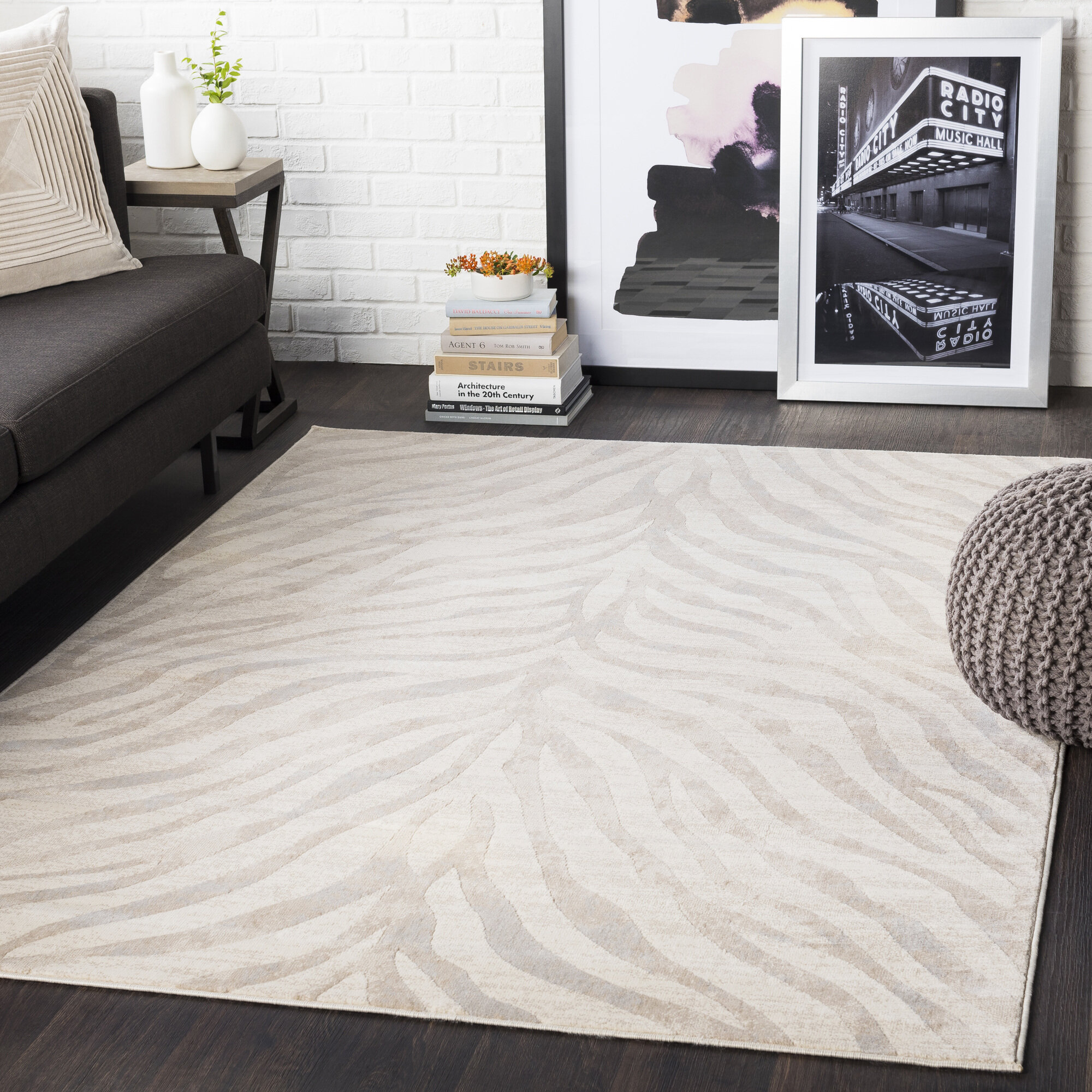 Aine Power Loom Light Gray Beige Rug Reviews Allmodern