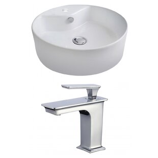 Reviews Ceramic Circular Vessel Bathroom Sink with Faucet and Overflow ByRoyal Purple Bath Kitchen