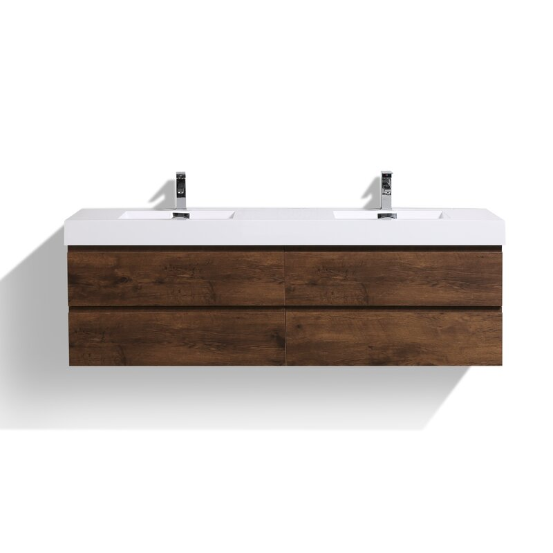"All Modern Store: Sinope 79"" Wall-Mounted Double Bathroom Vanity Set"