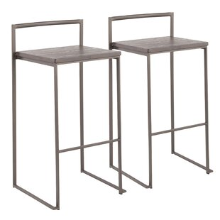 Gary Industrial Stackable 31 Bar Stool (Set of 2) Wade Logan
